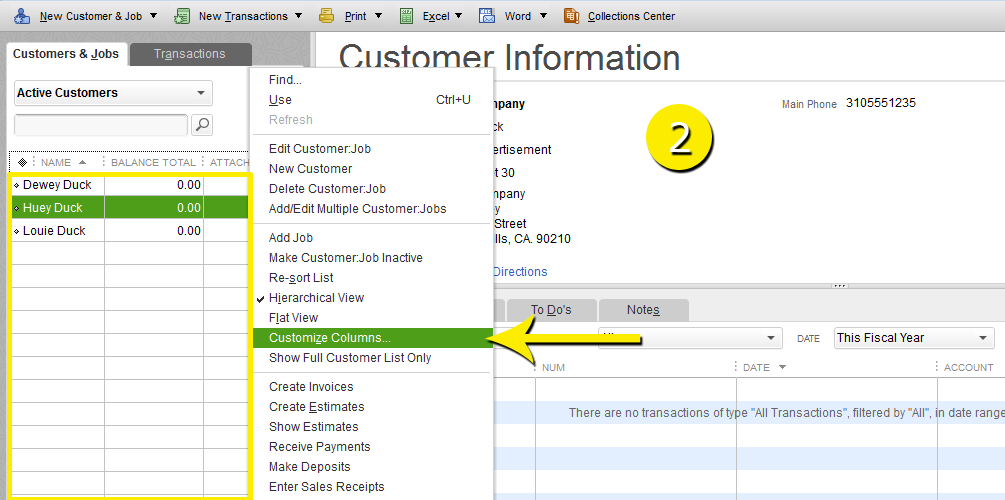 L7 -Customize The Customer Center - Step 2 - RIght Click List