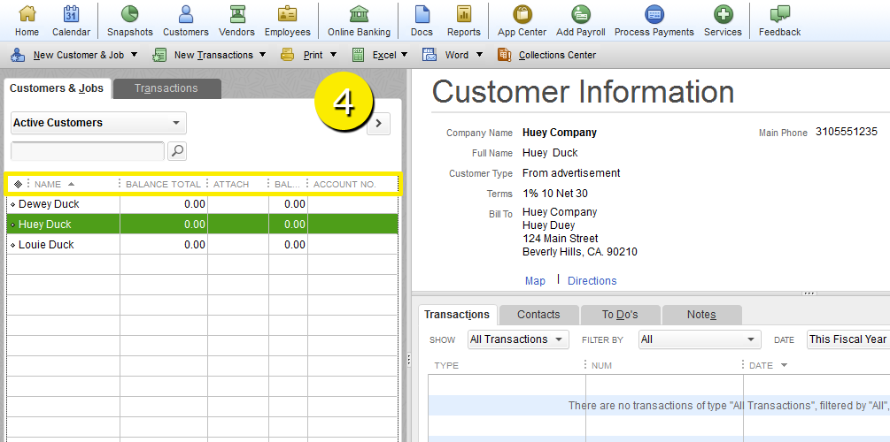 L7 -Customize The Customer Center - Step 4 - Label in List