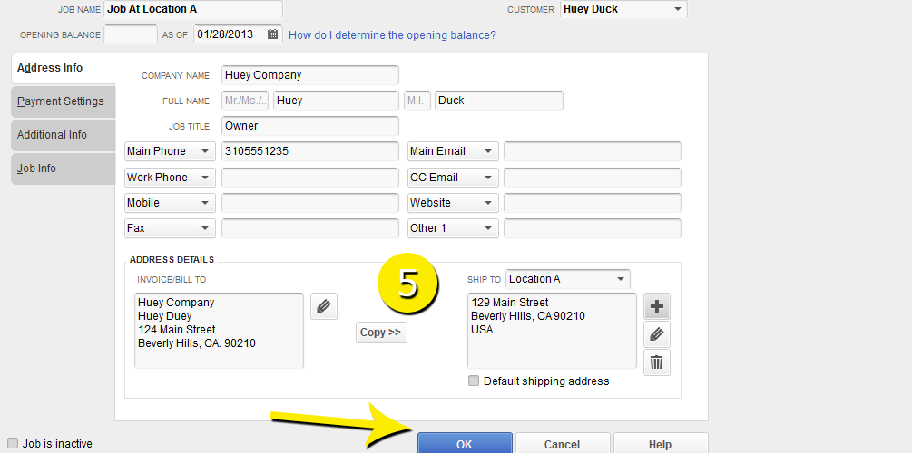 L8 - Create A New Job - Step 5 - Address Added