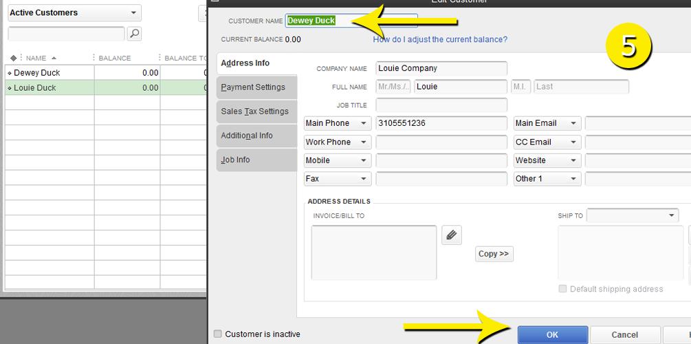 L12 - Merge Customer - Step 5 - Name Entered - Free QuickBooks Tutorials