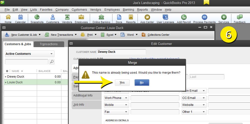 L12 - Merge Customer - Step 6 - Confirm - Free QuickBooks Tutorials