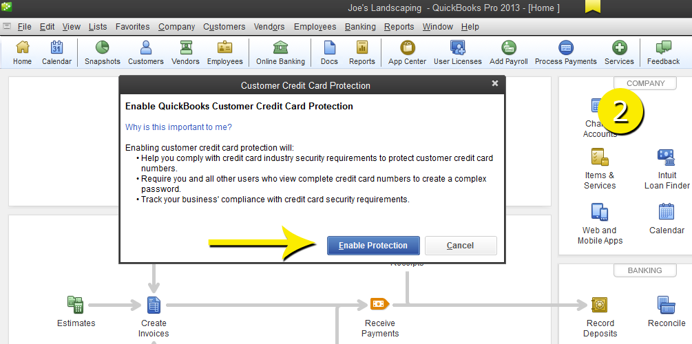 L2-11 - Credit Card - Step 2 - Enable Protect - Free QuickBooks Tutorials