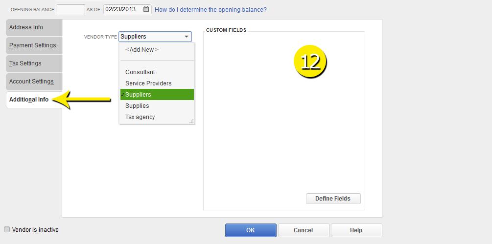 L3-2 -New Vendor - Step 12 - Additional Info- Free QuickBooks Tutorials