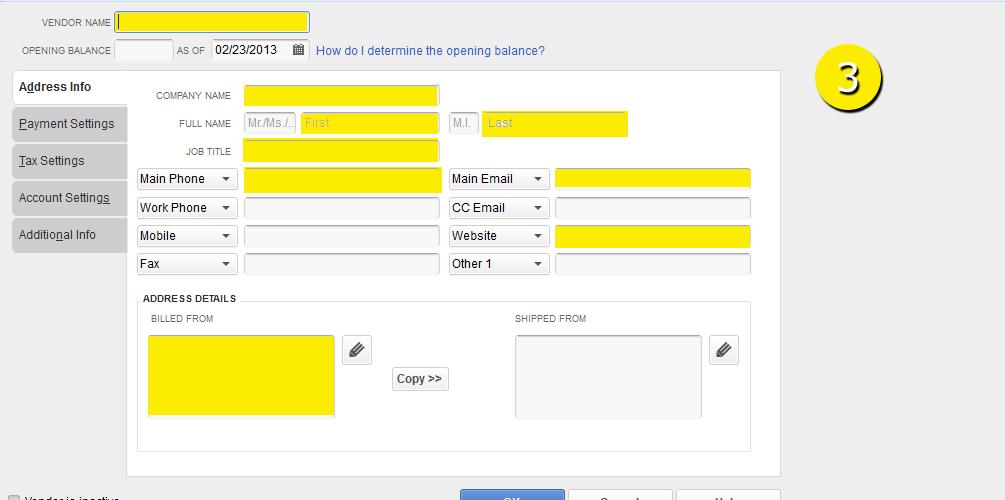 L3-2 -New Vendor - Step 3 - Enter Information - Free QuickBooks Tutorials