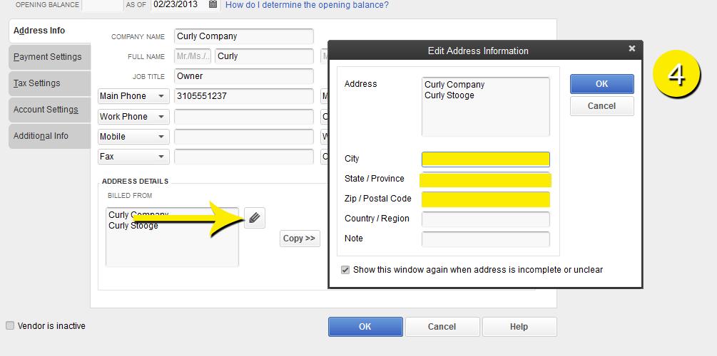 L3-2 -New Vendor - Step 4 - Enter Address - Free QuickBooks Tutorials