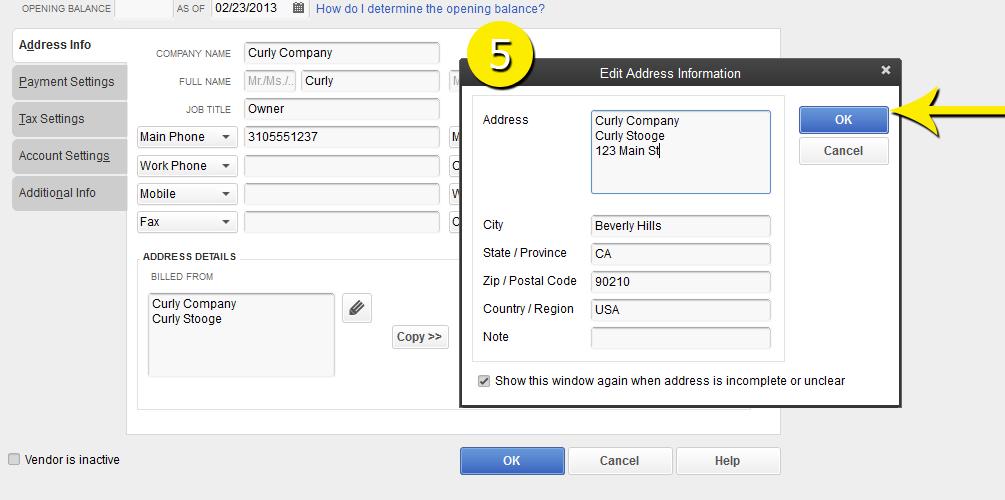 L3-2 -New Vendor - Step 5 - Enter Address Window - Free QuickBooks Tutorials