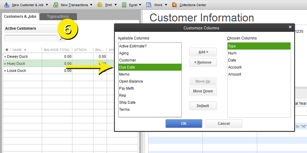L7 -Customize The Customer Center - Step 6 - Select Column Label