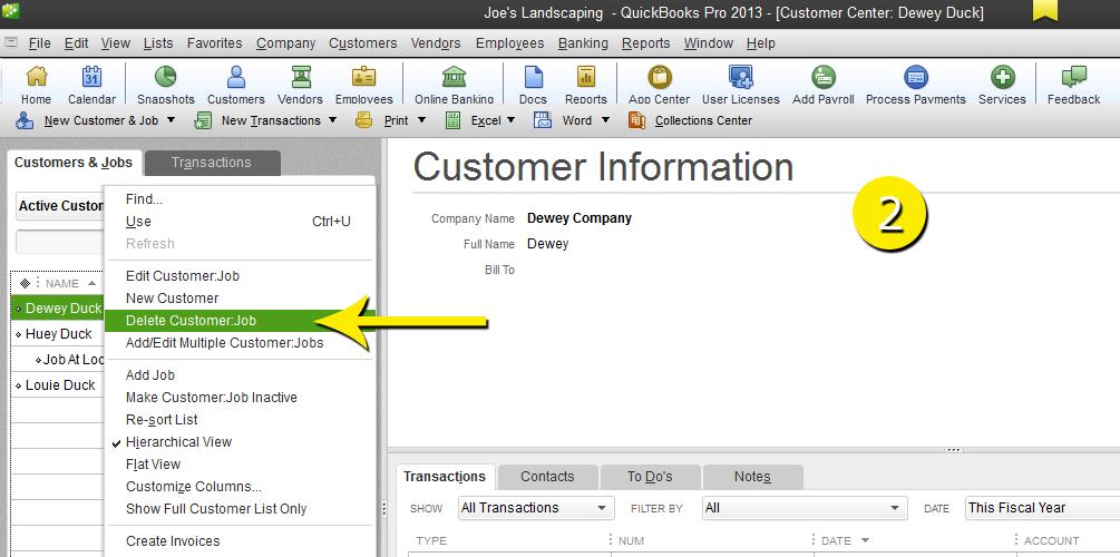 L9 - Delete A Customer - Step 2 - Right Click - Free QuickBooks Tutorials