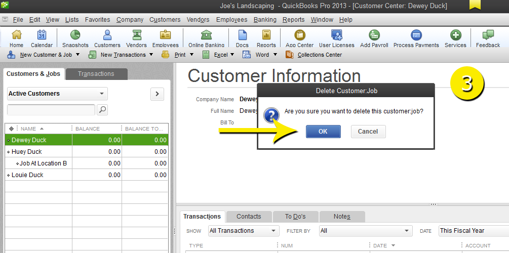 L9 - Delete A Customer - Step 3 - Confirm - Free QuickBooks Tutorials